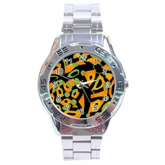 Abstract Animal Print Stainless Steel Analogue Watch by Valentinaart