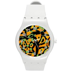 Abstract Animal Print Round Plastic Sport Watch (m) by Valentinaart
