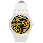 Abstract animal print Round Plastic Sport Watch (M) Front