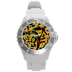 Abstract Animal Print Round Plastic Sport Watch (l) by Valentinaart