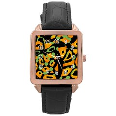 Abstract Animal Print Rose Gold Leather Watch  by Valentinaart