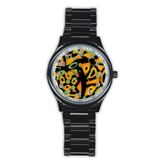 Abstract Animal Print Stainless Steel Round Watch by Valentinaart