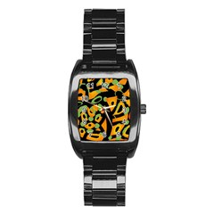 Abstract Animal Print Stainless Steel Barrel Watch by Valentinaart
