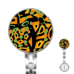 Abstract Animal Print Stainless Steel Nurses Watch by Valentinaart