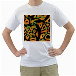 Abstract animal print Men s T-Shirt (White)  Front