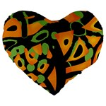 Abstract animal print Large 19  Premium Flano Heart Shape Cushions Front