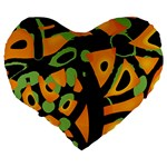 Abstract animal print Large 19  Premium Flano Heart Shape Cushions Back