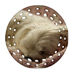Maltese Sleeping Round Filigree Ornament (2Side) by TailWags