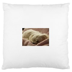 Maltese Sleeping Large Flano Cushion Case (two Sides) by TailWags