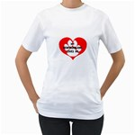 My Newfie Loves Me Women s T-Shirt (White) (Two Sided)