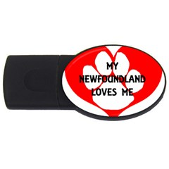 My Newfie Loves Me USB Flash Drive Oval (2 GB)