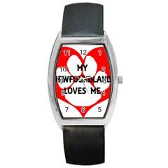 My Newfie Loves Me Barrel Style Metal Watch
