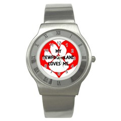 My Newfie Loves Me Stainless Steel Watch