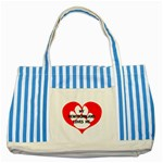 My Newfie Loves Me Striped Blue Tote Bag