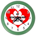 My Newfie Loves Me Color Wall Clocks
