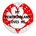 My Newfie Loves Me Round Filigree Ornament (2Side)