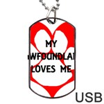 My Newfie Loves Me Dog Tag USB Flash (Two Sides)