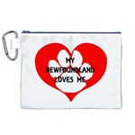 My Newfie Loves Me Canvas Cosmetic Bag (XL)