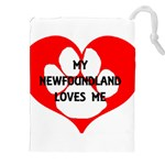 My Newfie Loves Me Drawstring Pouches (XXL)