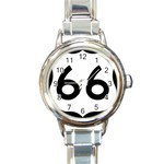 U.S. Route 66 Round Italian Charm Watch Front