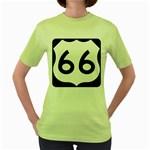 U.S. Route 66 Women s Green T-Shirt