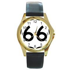 U S  Route 66 Round Gold Metal Watch by abbeyz71