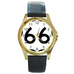 U.S. Route 66 Round Gold Metal Watch Front