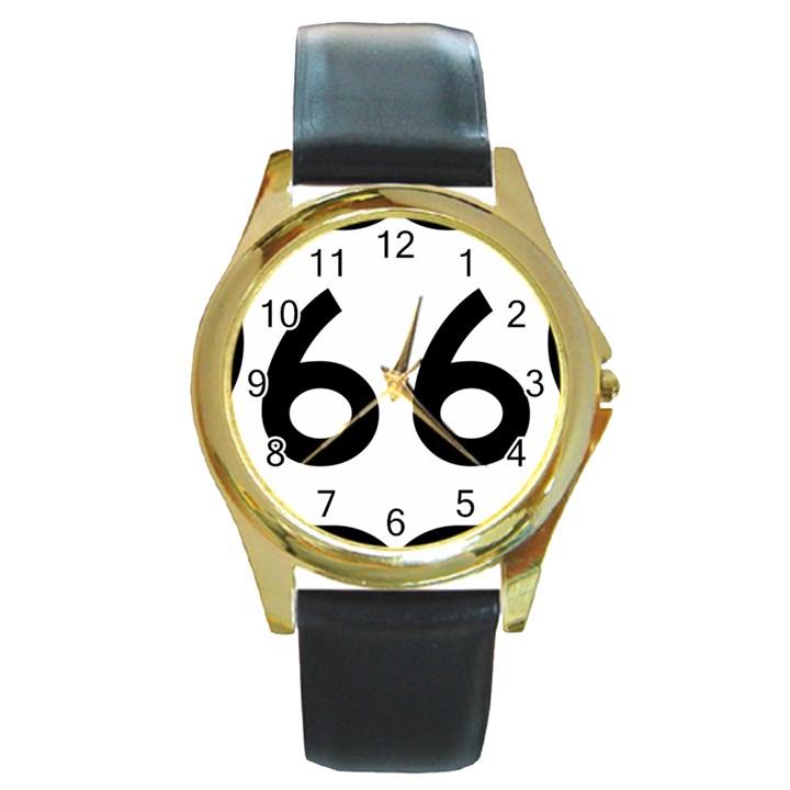U.S. Route 66 Round Gold Metal Watch