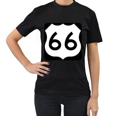 U S  Route 66 Women s T Shirt (black) (two Sided)