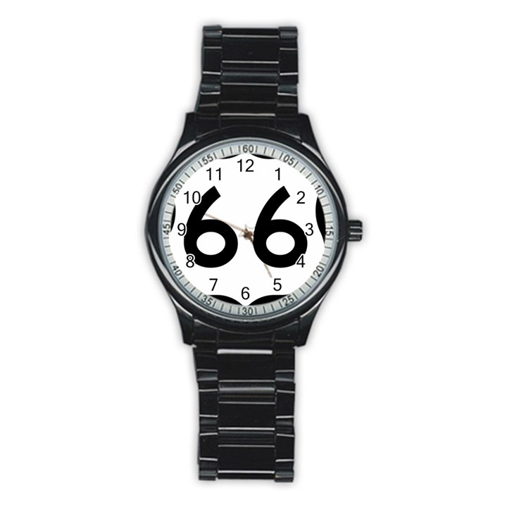 U.S. Route 66 Stainless Steel Round Watch