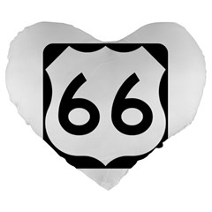 U S  Route 66 Large 19  Premium Flano Heart Shape Cushions by abbeyz71
