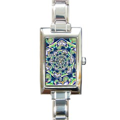 Power Spiral Polygon Blue Green White Rectangle Italian Charm Watch