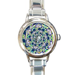 Power Spiral Polygon Blue Green White Round Italian Charm Watch