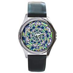 Power Spiral Polygon Blue Green White Round Metal Watch by EDDArt