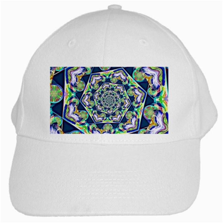 Power Spiral Polygon Blue Green White White Cap