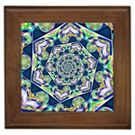 Power Spiral Polygon Blue Green White Framed Tiles Front