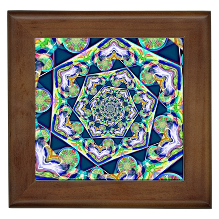 Power Spiral Polygon Blue Green White Framed Tiles