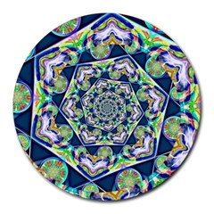Power Spiral Polygon Blue Green White Round Mousepads