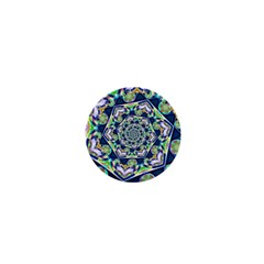 Power Spiral Polygon Blue Green White 1  Mini Magnets by EDDArt