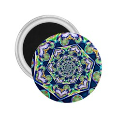 Power Spiral Polygon Blue Green White 2 25  Magnets by EDDArt