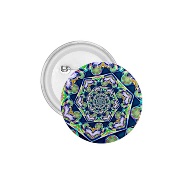 Power Spiral Polygon Blue Green White 1.75  Buttons
