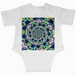 Power Spiral Polygon Blue Green White Infant Creepers Back