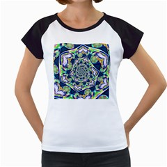 Power Spiral Polygon Blue Green White Women s Cap Sleeve T