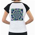 Power Spiral Polygon Blue Green White Women s Cap Sleeve T Back