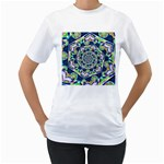 Power Spiral Polygon Blue Green White Women s T-Shirt (White) (Two Sided) Front
