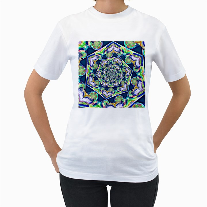 Power Spiral Polygon Blue Green White Women s T-Shirt (White) (Two Sided)