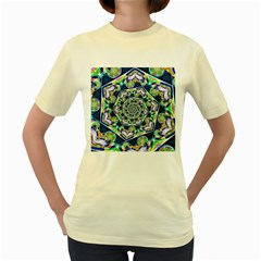 Power Spiral Polygon Blue Green White Women s Yellow T Shirt