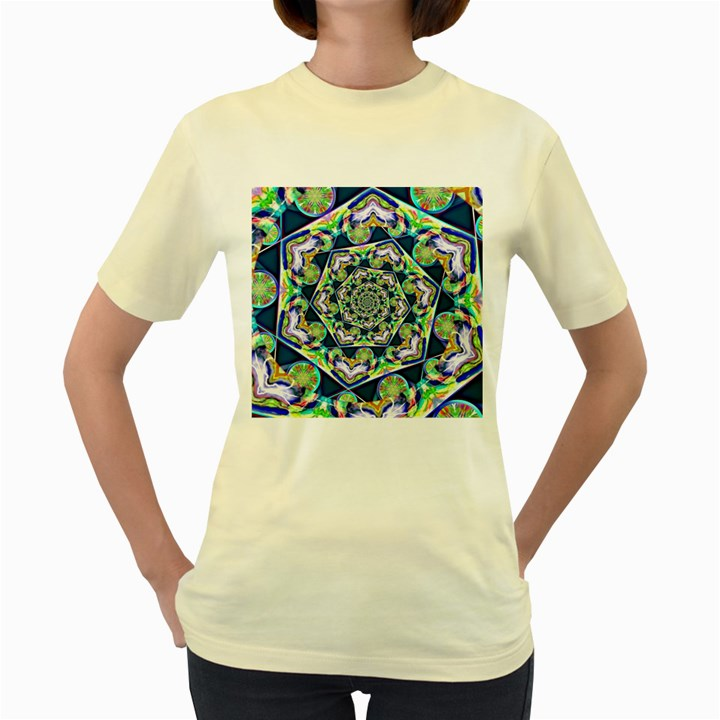 Power Spiral Polygon Blue Green White Women s Yellow T-Shirt