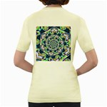 Power Spiral Polygon Blue Green White Women s Yellow T-Shirt Back