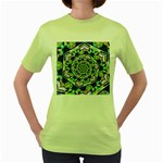 Power Spiral Polygon Blue Green White Women s Green T-Shirt Front